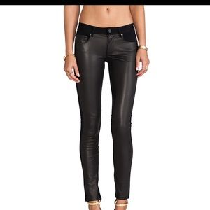 PAIGE: Denim Emily Ponte Leather Pant